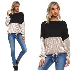 Tops - Arrived! Black/taupe color block top